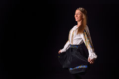 Closeup of a young Romanian woman dressed in traditional costume Royalty Free Stock Photography