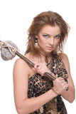 Closeup of young savage woman with stone hammer Royalty Free Stock Photos