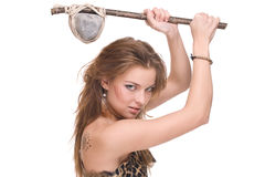 Closeup of young savage woman with stone hammer Stock Photography