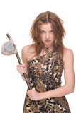 Closeup  of young savage woman with stone hammer Royalty Free Stock Image