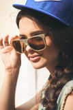 Closeup of Young sexy woman in sunglasses Stock Photo