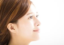 Closeup young smiling  woman  face Royalty Free Stock Image