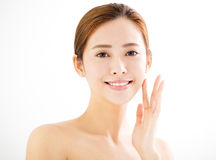 Closeup  young smiling  woman  face Stock Photos