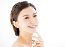 Closeup   young  smiling woman face Stock Photo