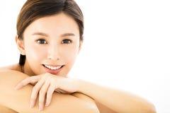 Closeup   young  smiling woman face Stock Photos