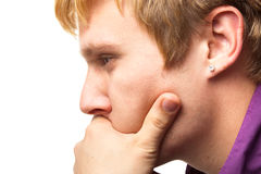 Closeup of a young thinking man Stock Image