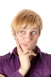 Closeup of a young thinking man Royalty Free Stock Photography