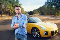 Closeup of young trendy male driver Stock Photography