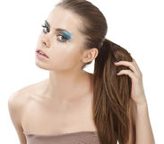 Closeup of young woman with beautiful hair. Royalty Free Stock Photo