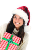 Closeup young woman with Christmas Present Stock Photography