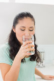 Closeup of a young woman drinking water in kitchen Royalty Free Stock Image
