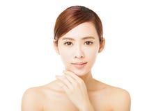 Closeup  young woman face Stock Photos