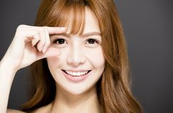 Young woman face with beautiful eyes Stock Photo