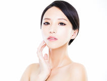Closeup   young  woman face with clean  skin Royalty Free Stock Image