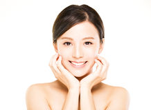 Closeup   young  woman face with clean  skin Stock Image