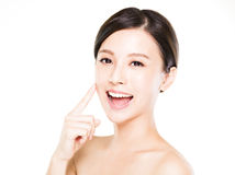 Closeup   young  woman face with clean  skin. Closeup   young asian  woman face with clean  skin Royalty Free Stock Photos