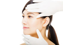Closeup young  woman face with medical beauty Royalty Free Stock Image