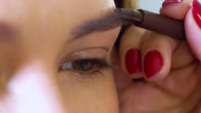 Closeup of young woman getting professional eyebrow shape correction. At beauty salon. people, cosmetics, care, lifestyle, style concept stock footage