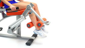 Closeup of young woman on hydraulic exerciser stock video footage