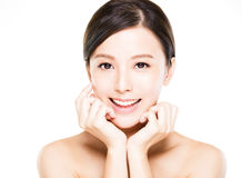 Closeup   young  woman smiling face with clean  skin Royalty Free Stock Photography