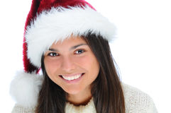 Closeup young woman wearing Santa Hat Royalty Free Stock Image