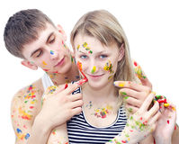 Closeup young woman and man drawing paints Stock Photo