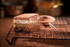 Yummy tiramisu cake with cocoa, mascarpone and biscuits Royalty Free Stock Photos