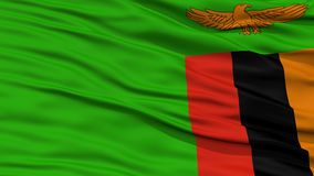 Closeup Zambia Flag. Waving in the Wind, High Resolution Stock Images