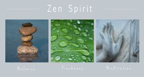 Zen spirit - collage with text :, Balance, Freshness and Meditation. Closeup of Zen spirit - collage with text :, Balance, Freshness and Meditation royalty free illustration