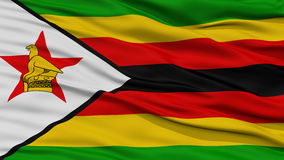 Closeup Zimbabwe Flag. Waving in the Wind, High Resolution Royalty Free Stock Images