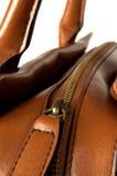 Closeup zipper. On a handbag Stock Photo