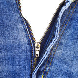 Closeup of zipper in blue jeans Stock Photo