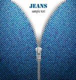 Closeup of zipper in blue jeans background. Vector Royalty Free Stock Photo