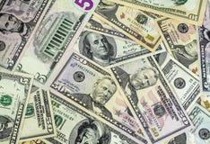 Closeupbild av pengar, US dollarräkningar Royaltyfri Foto