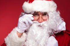 Closeupbilden av Santa Claus vänder mot Arkivfoto