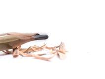 Closeupblyertspenna med en bruten spets på vit bakgrund Royaltyfri Fotografi