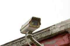 Closeupcctv-kamera på det gamla hemmet Arkivbild