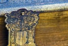 Closeupdetalj av en forntida bok Arkivfoto
