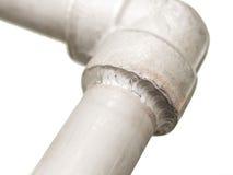 Closeupdetaljer förseglar den svetsade skarven i den rostfria rörledningen för gas Arkivbilder