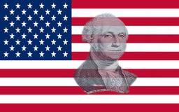 Closeupen av Amerikas förenta stater sjunker med ståenden George Washington royaltyfria bilder