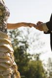 Closeupen av brudgummen som förlägger en vigselring på hans brudar, fingrar Royaltyfria Bilder