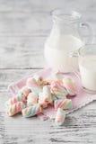 Closeupen av den amerikanska vridna marshmallowen med mjölkar Royaltyfria Bilder