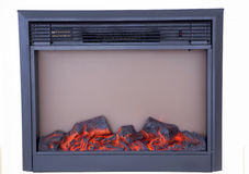 Closeupen av den elektriska konstgjorda spisen med bränning loggar Arkivfoton