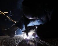 Det Aluminum däcket pläterar svetsning Royaltyfri Bild