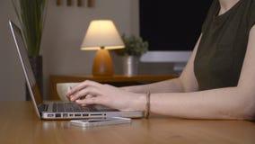 Closeupen av en kvinnlig räcker upptagen maskinskrivning på en bärbar dator stock video
