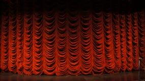 Closeupen av etappen och gardiner för video gör grön skärmbakgrund Arkivbilder