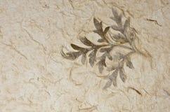 Closeupen av handgjort pappers- texturerar bakgrund med leafen Arkivbild