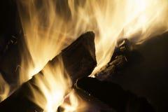 Closeupen av rytande flammande brand på lägereld loggar Arkivbild