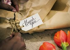 Closeupen av tackar dig att blomma buketten Arkivfoto