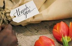 Closeupen av tackar dig att blomma buketten Arkivfoton